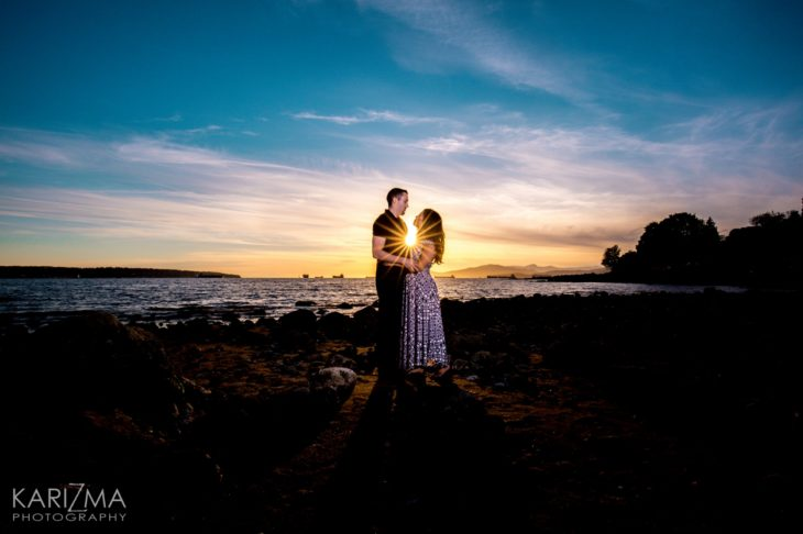English Bay Engagement Vancouver sunset