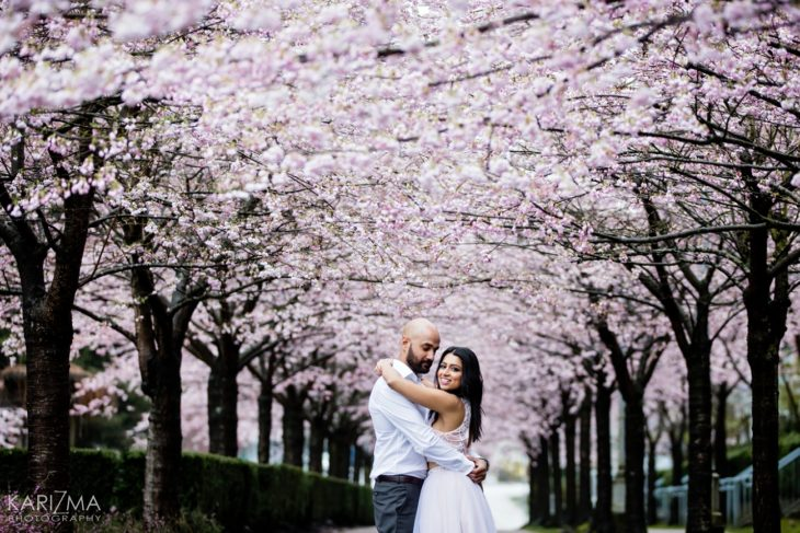 Vancouver Cherry Blossom Engagement couple