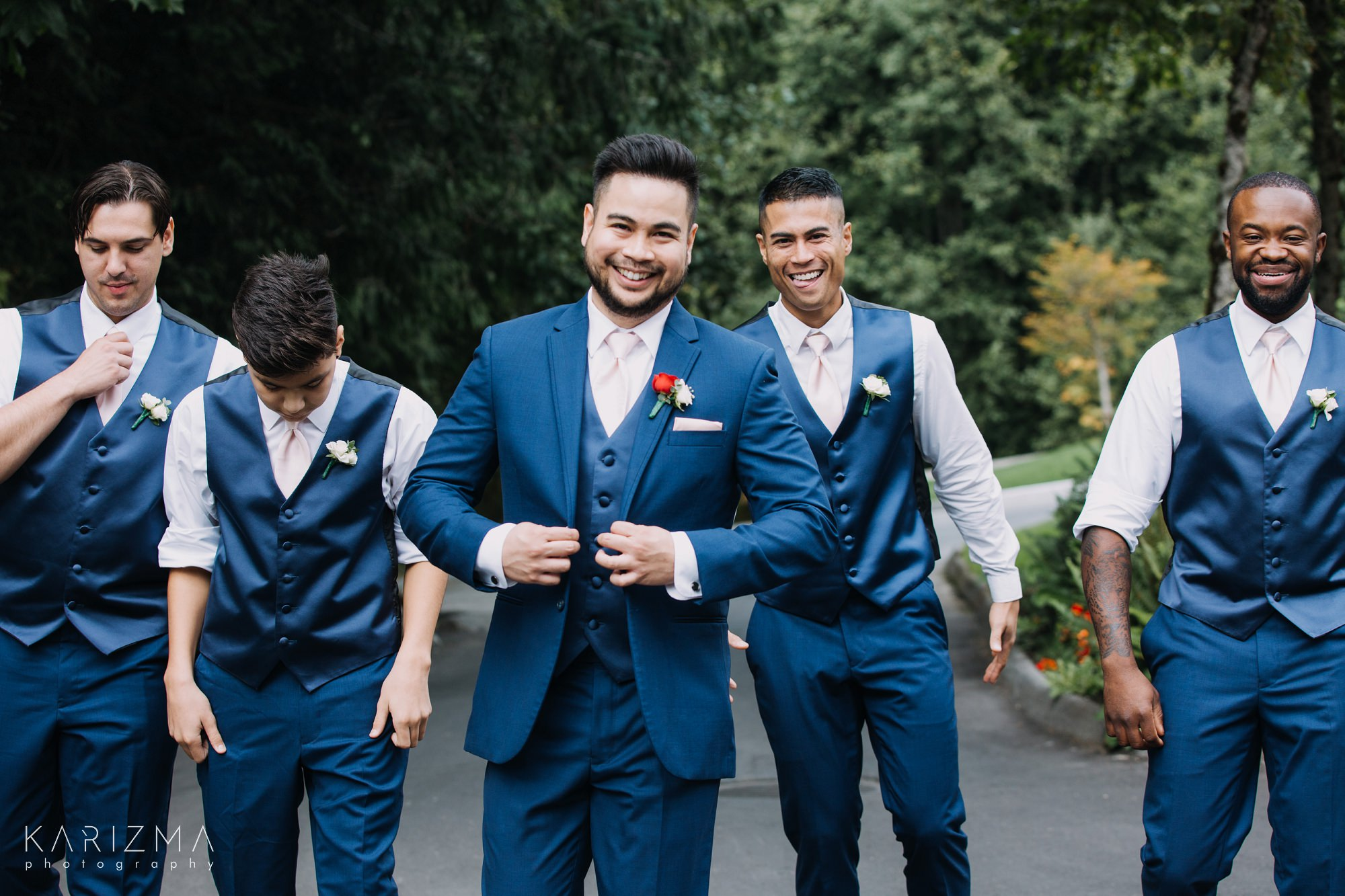 Furry Creek Golf Club Wedding groom and groomsmen