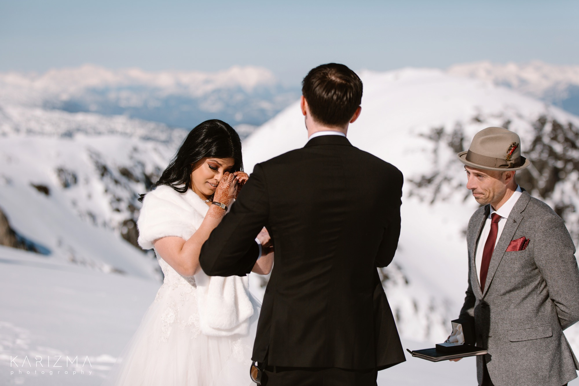Helicopter Elopement Whistler reading vows
