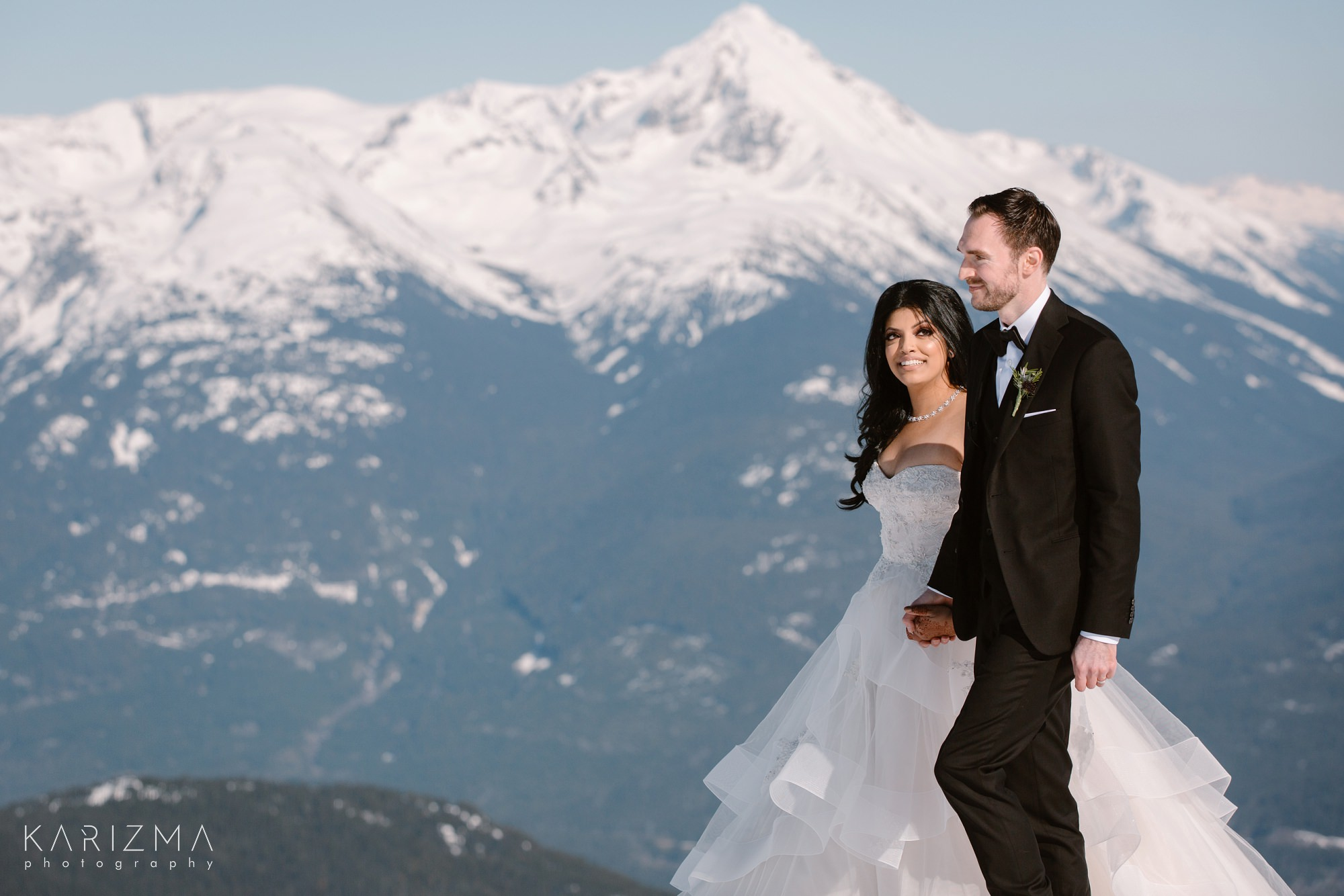 Helicopter Elopement Whistler at the top of the mountain