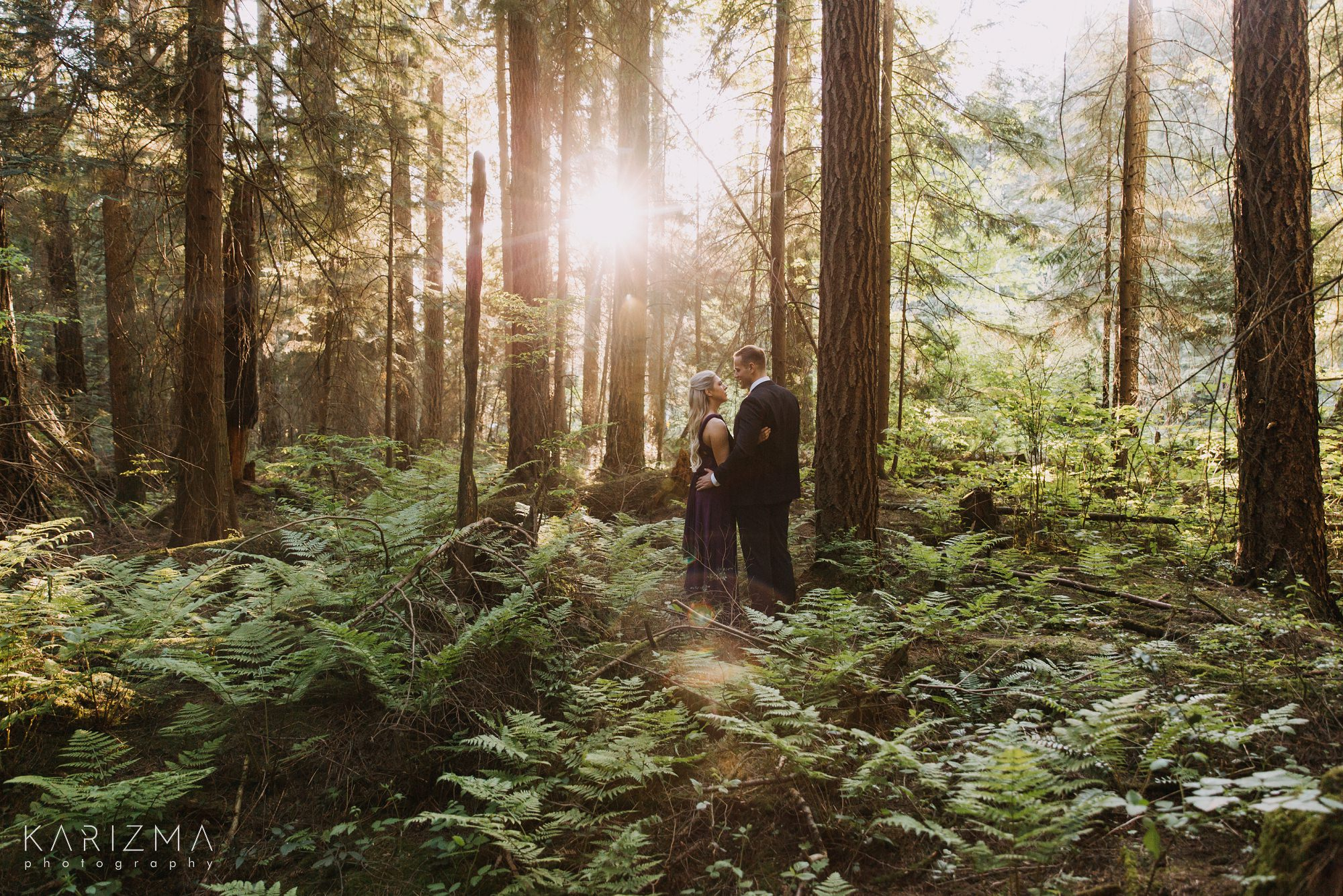 Pacific Spirit Park Engagement session tall trees