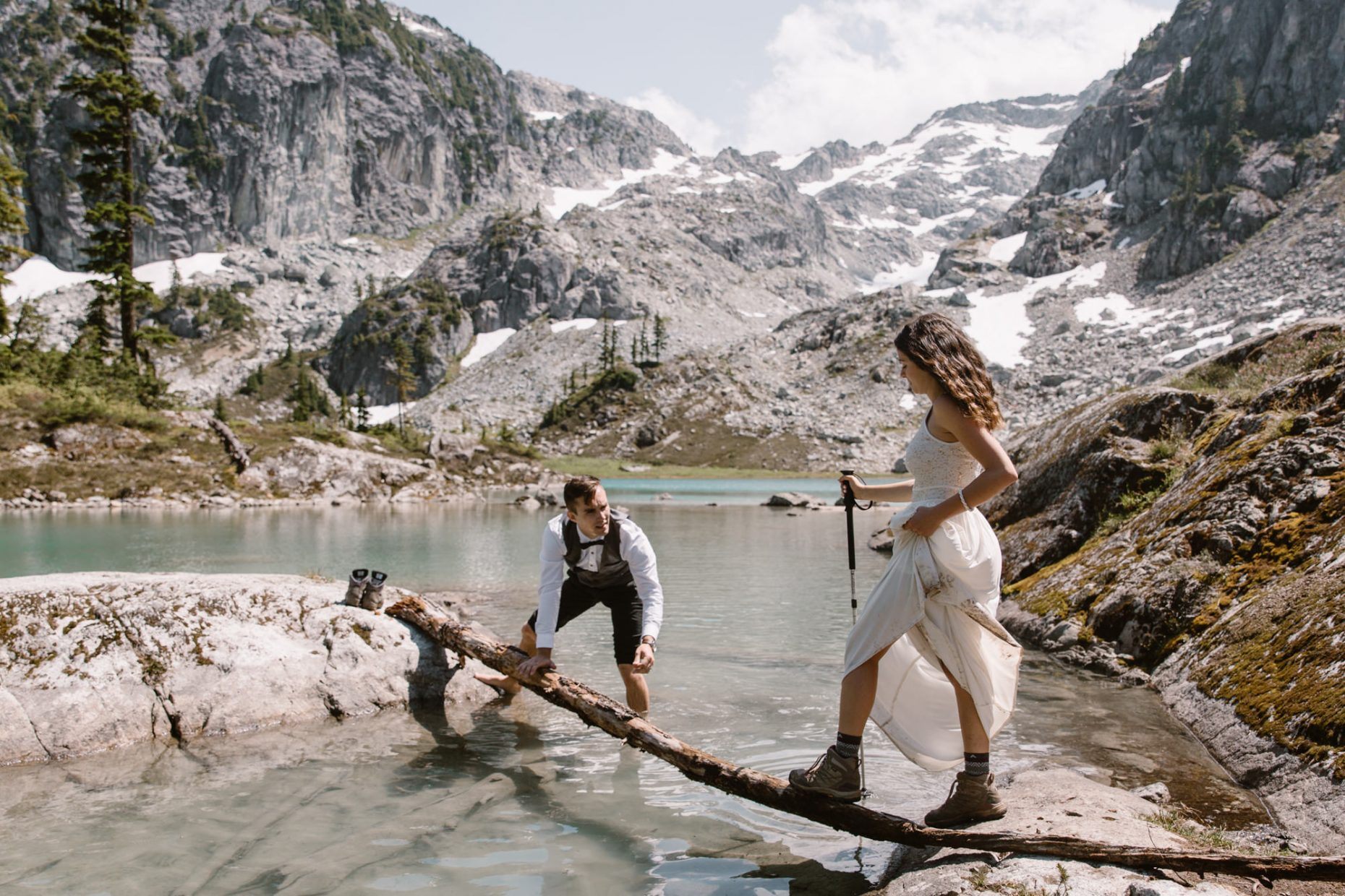 hiking elopement, bride and groom