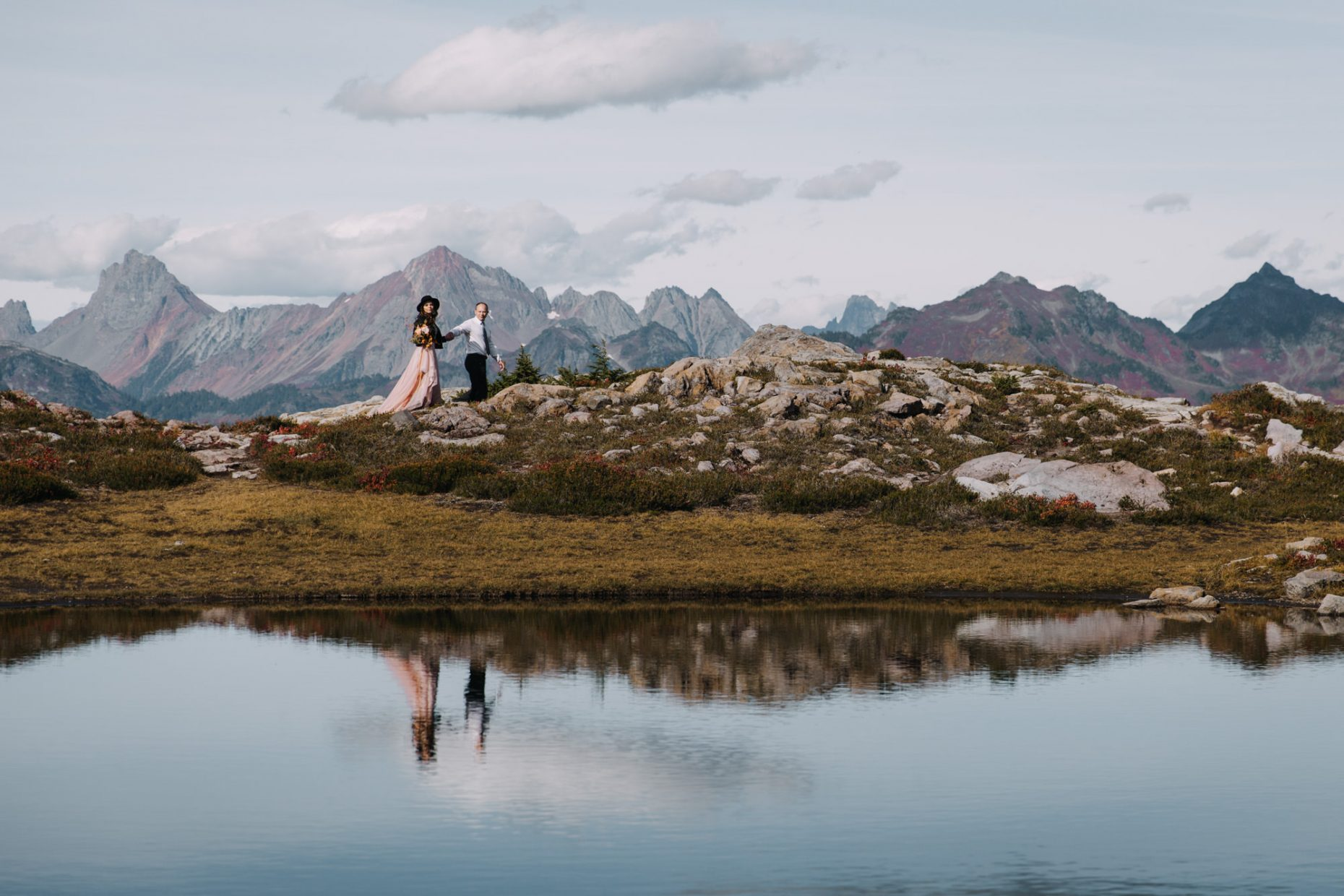mountain elopement, lake reflation