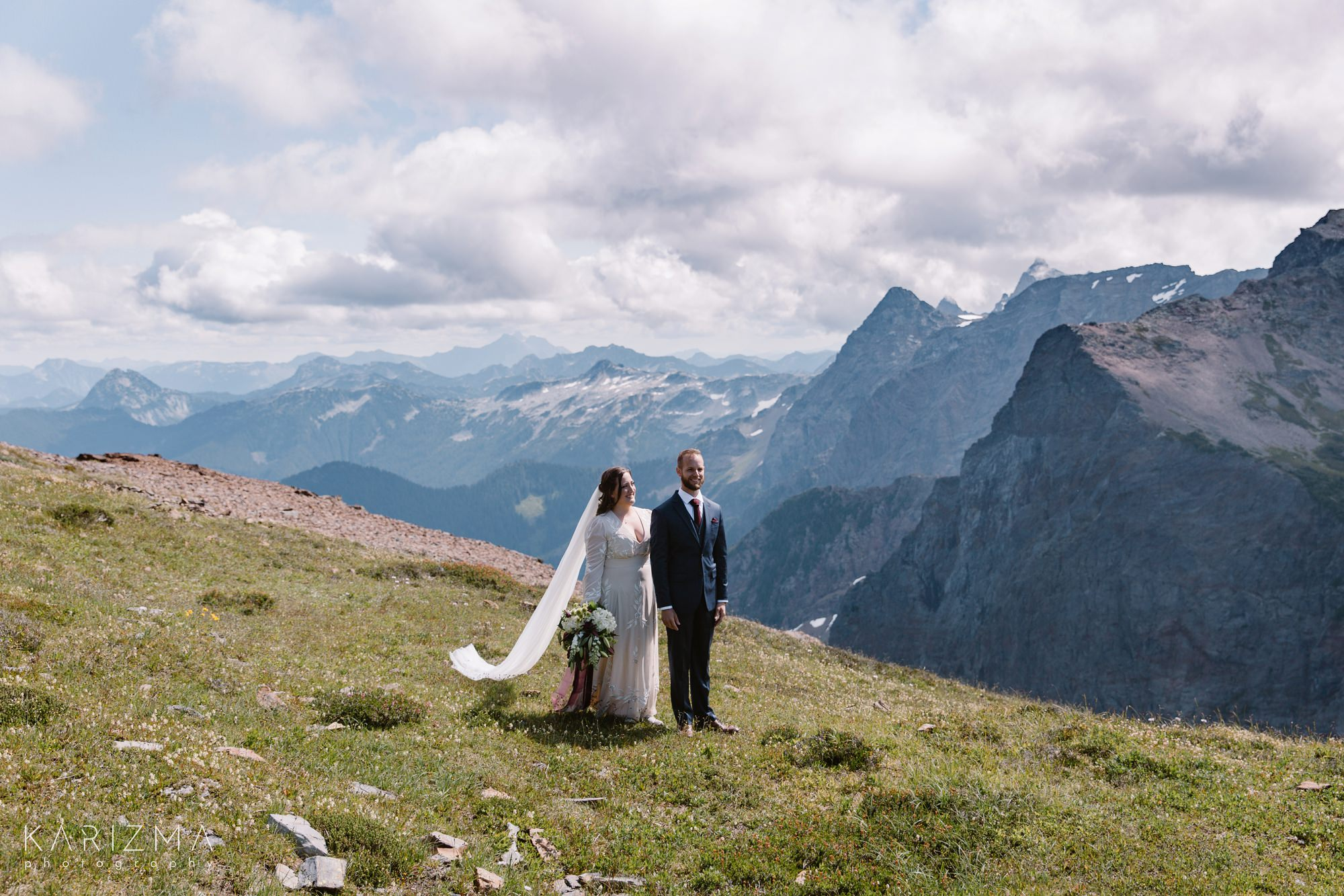 First look of the bride in groom in the mountains of British Columbia