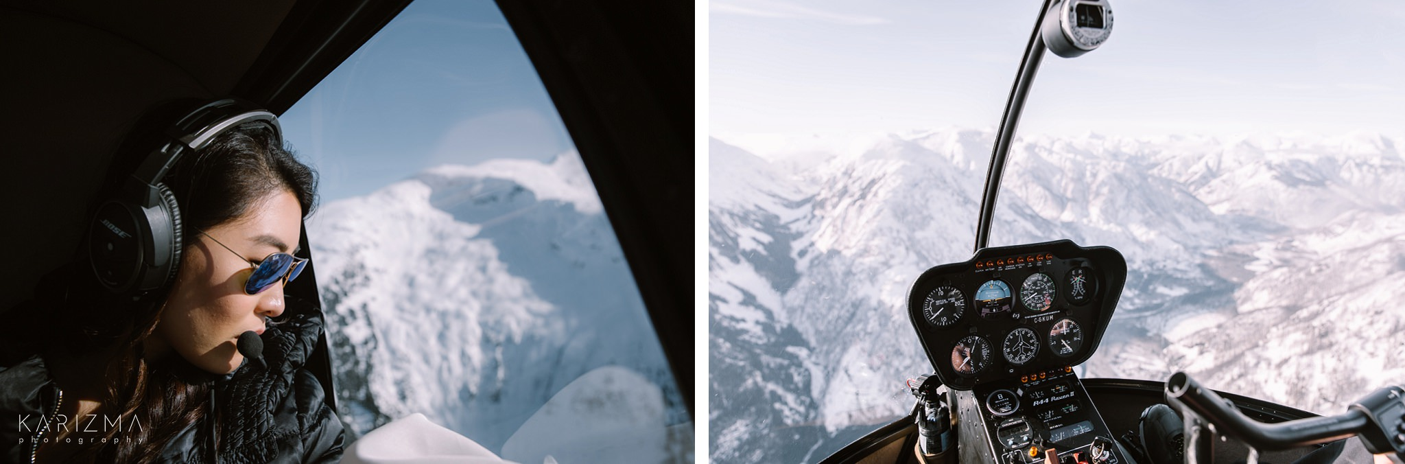 Bride enjoying the view from the helicopter