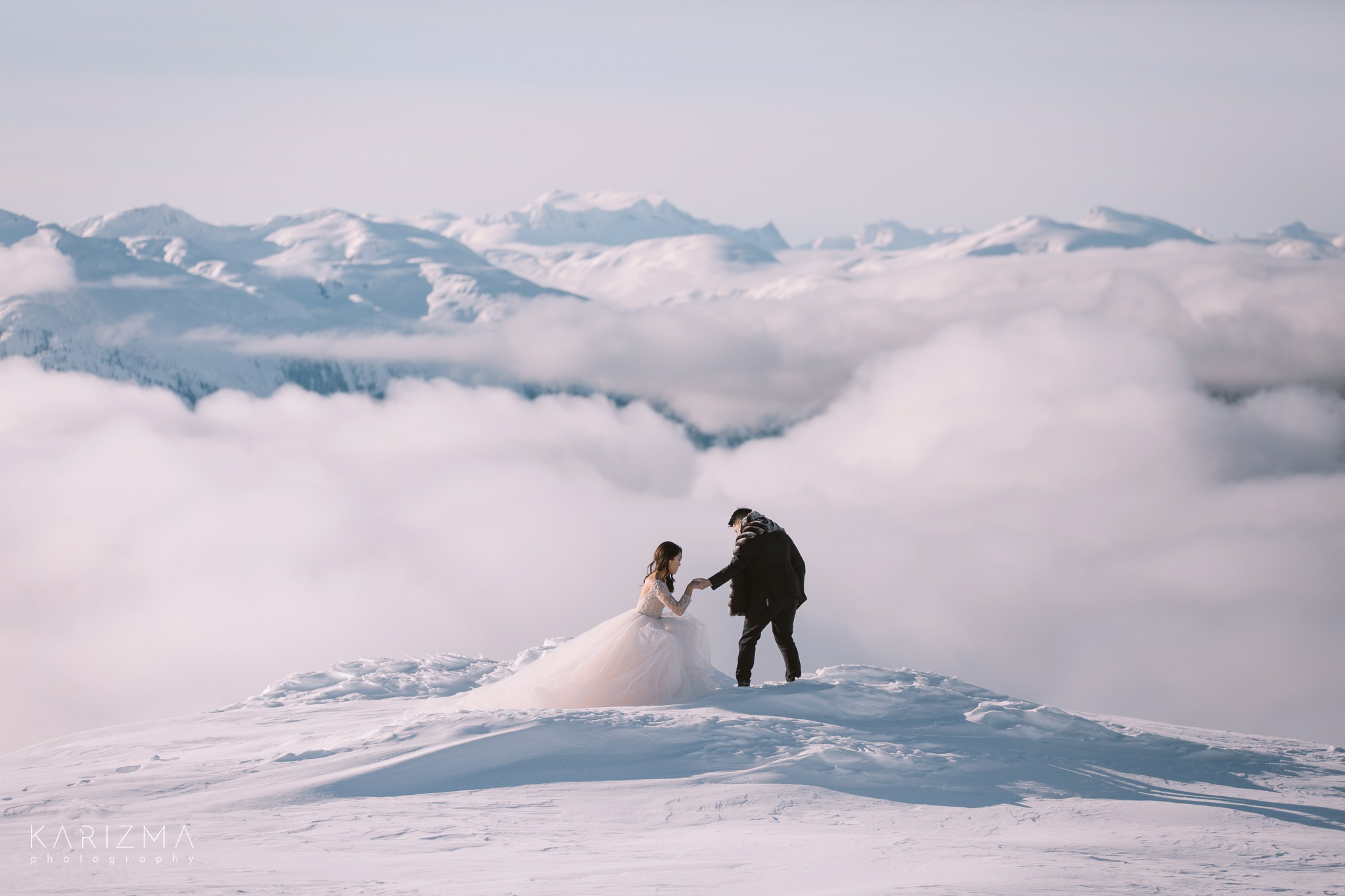 Bride and groom during their whistler-pre-wedding photo session