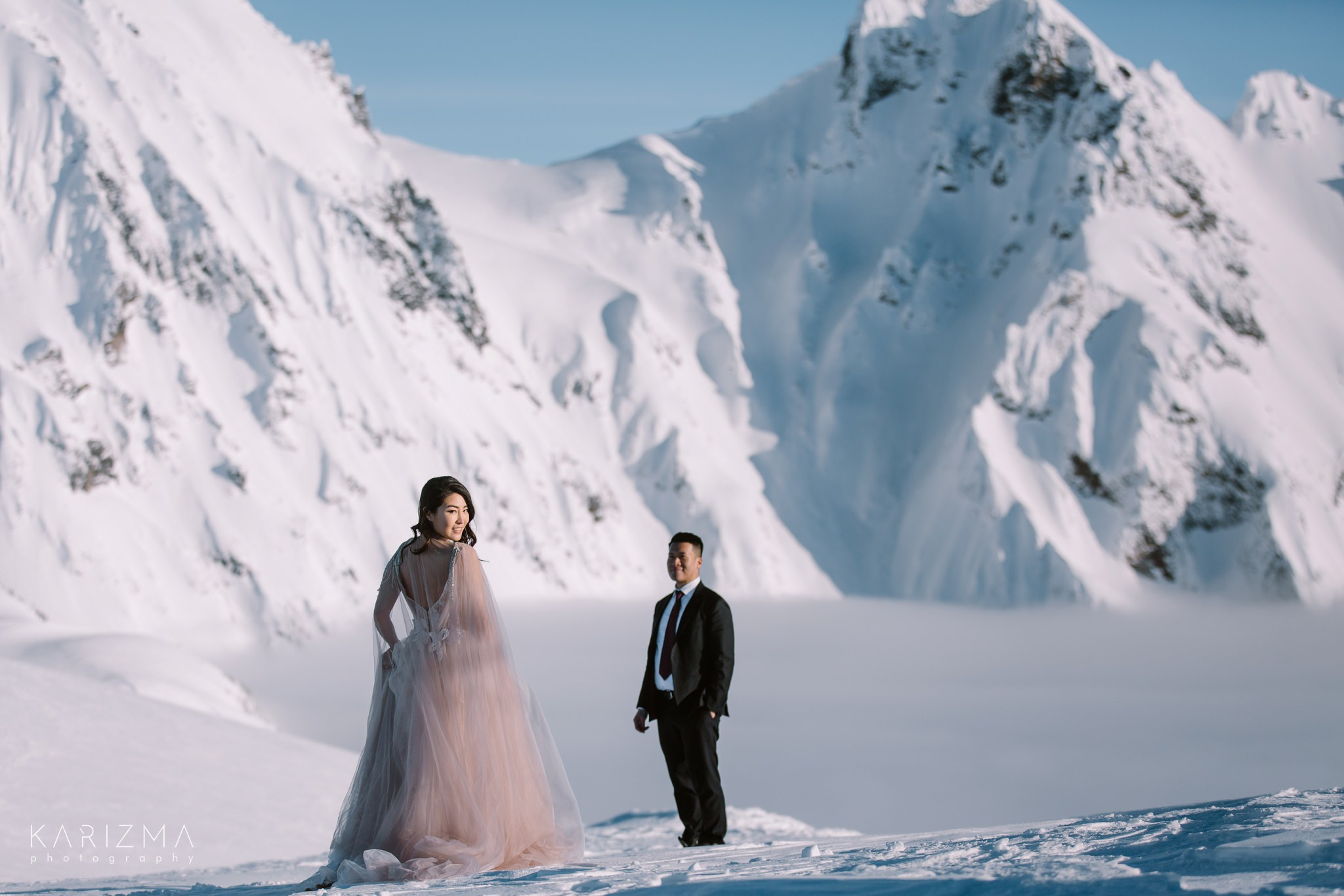 Mountain top Whistler helicopter pre-wedding photo session