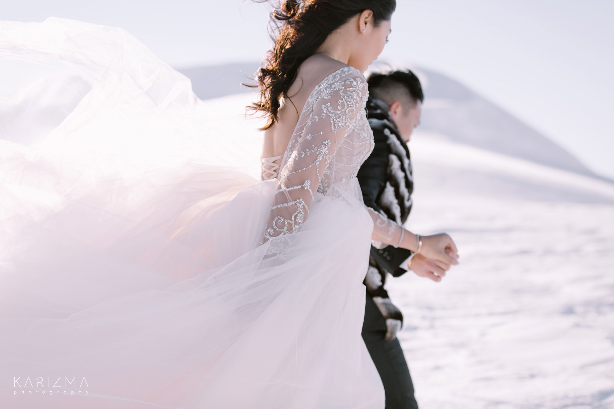 Close-up portrait of the bride and groom in Whistler mountains