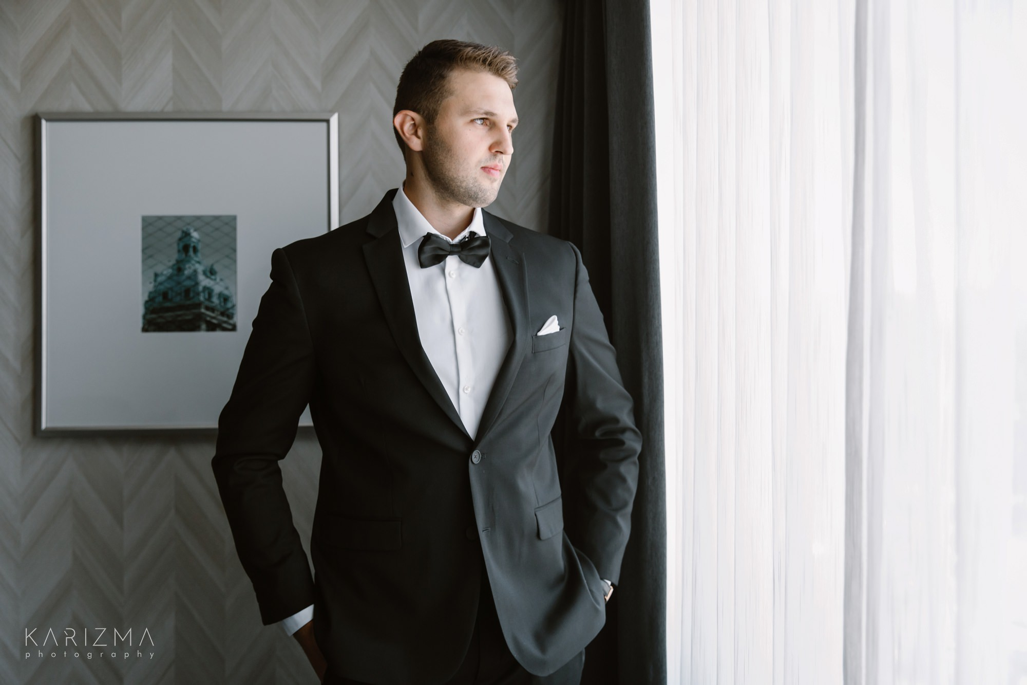 Intimate Vancouver wedding groom in the suit