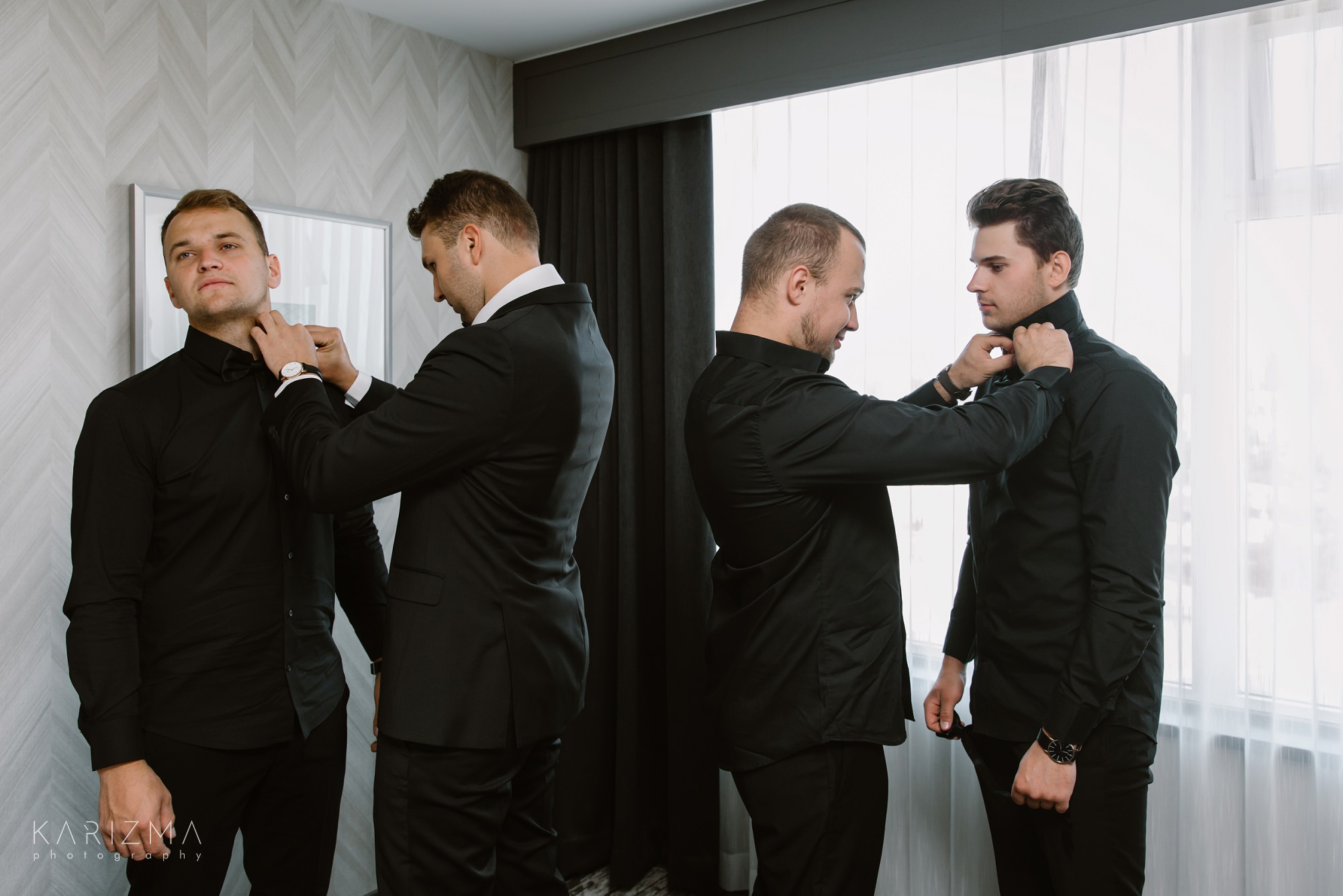 Intimate Vancouver wedding groomsmen getting ready