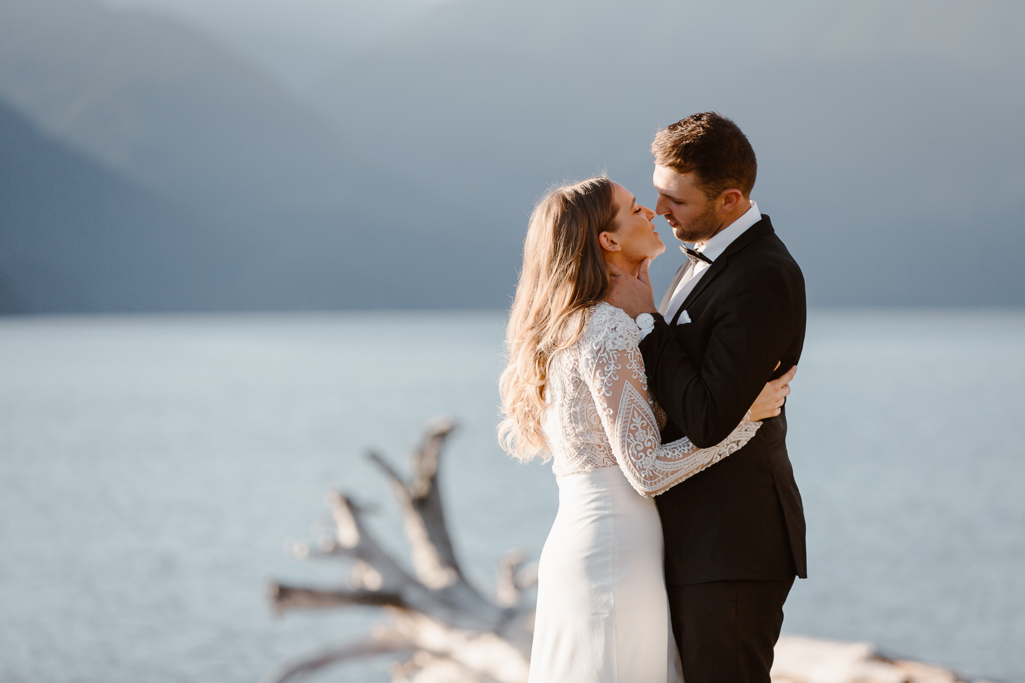 Intimate portrait of bride and groom made during Squamish outdoor post-wedding session