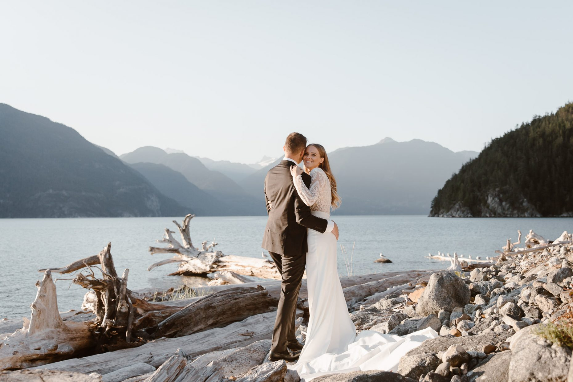 Bride and groom with mountain views