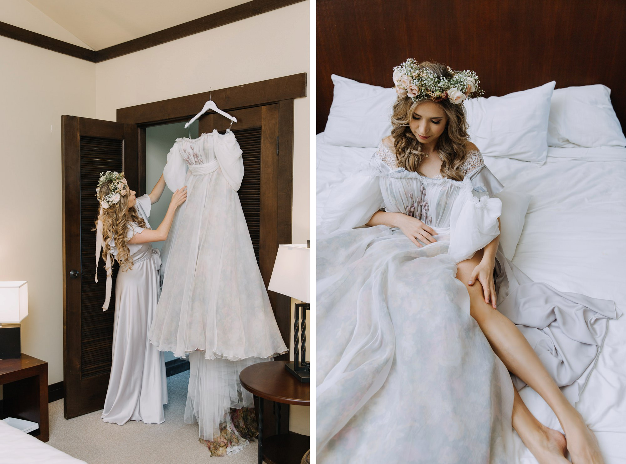 Bride playing with her wedding dress