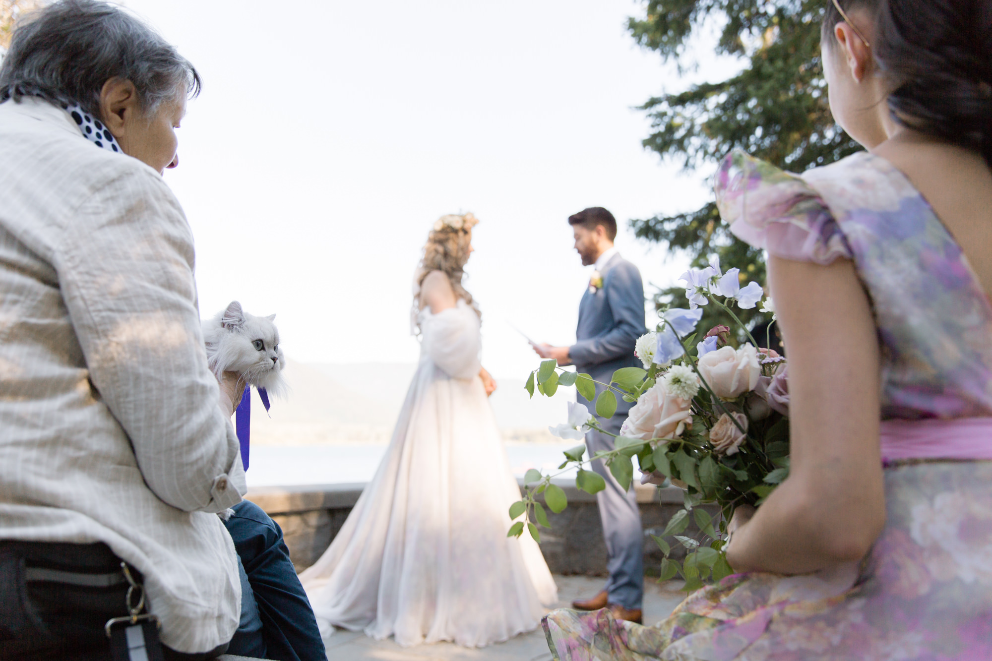 Bride and groom and their guests during intimate Stone Circle Wedding Ceremony in Whistler