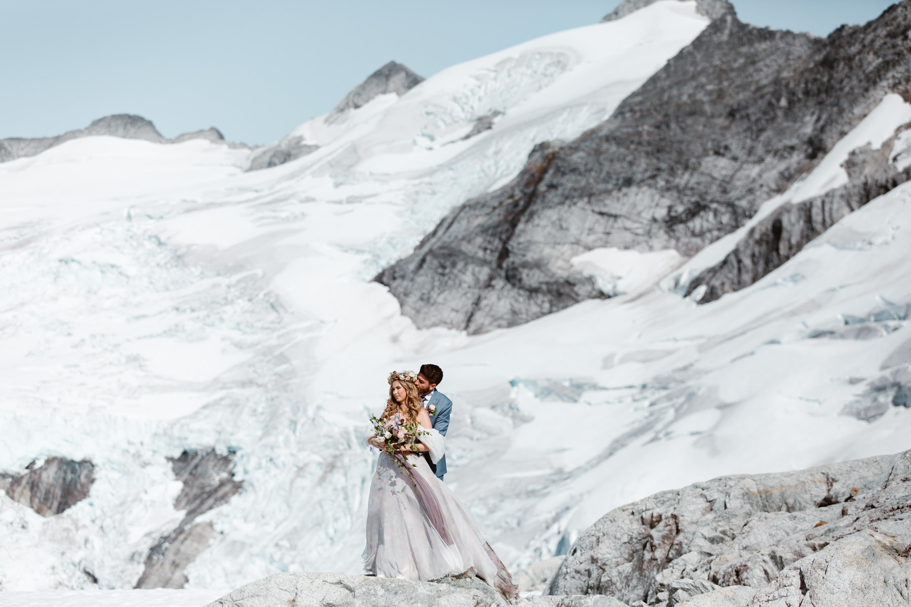 Helicopter elopement packages BC - glacier wedding